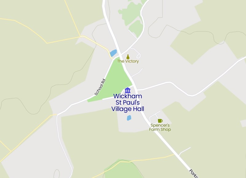 Map of where to find the village hall
